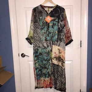 Seance side split tunic / dress - fits like XL